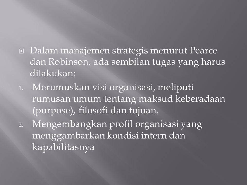 Dalam manajemen strategis menurut Pearce dan Robinson, ada sembilan tugas yang harus dilakukan:
