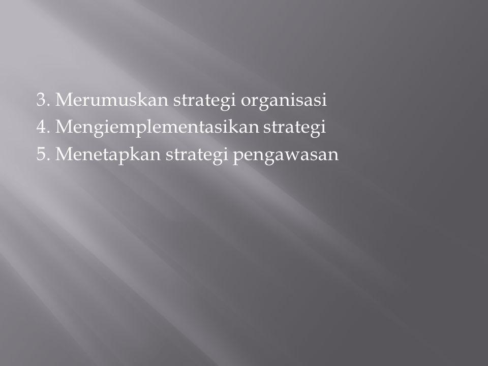 3. Merumuskan strategi organisasi 4. Mengiemplementasikan strategi 5