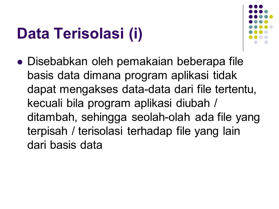 Data Terisolasi (i)