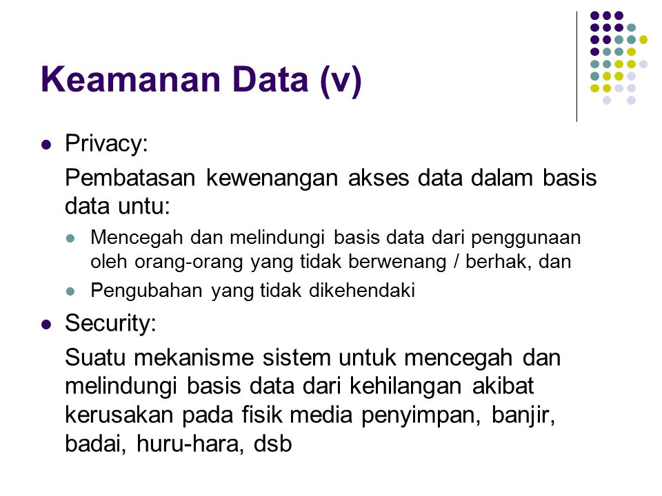Keamanan Data (v) Privacy: