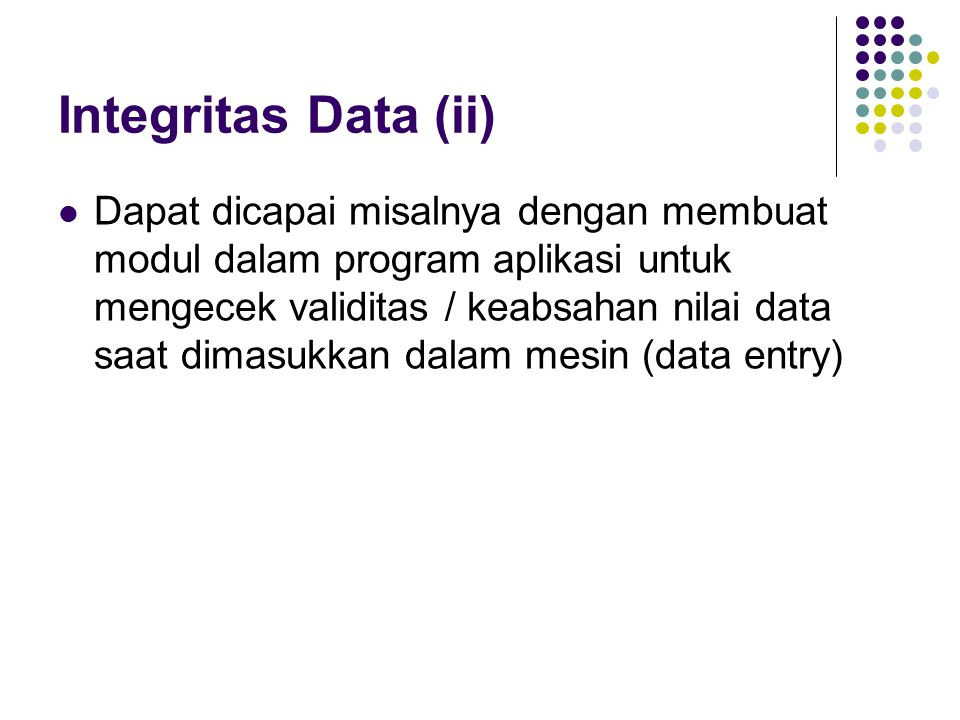 Integritas Data (ii)
