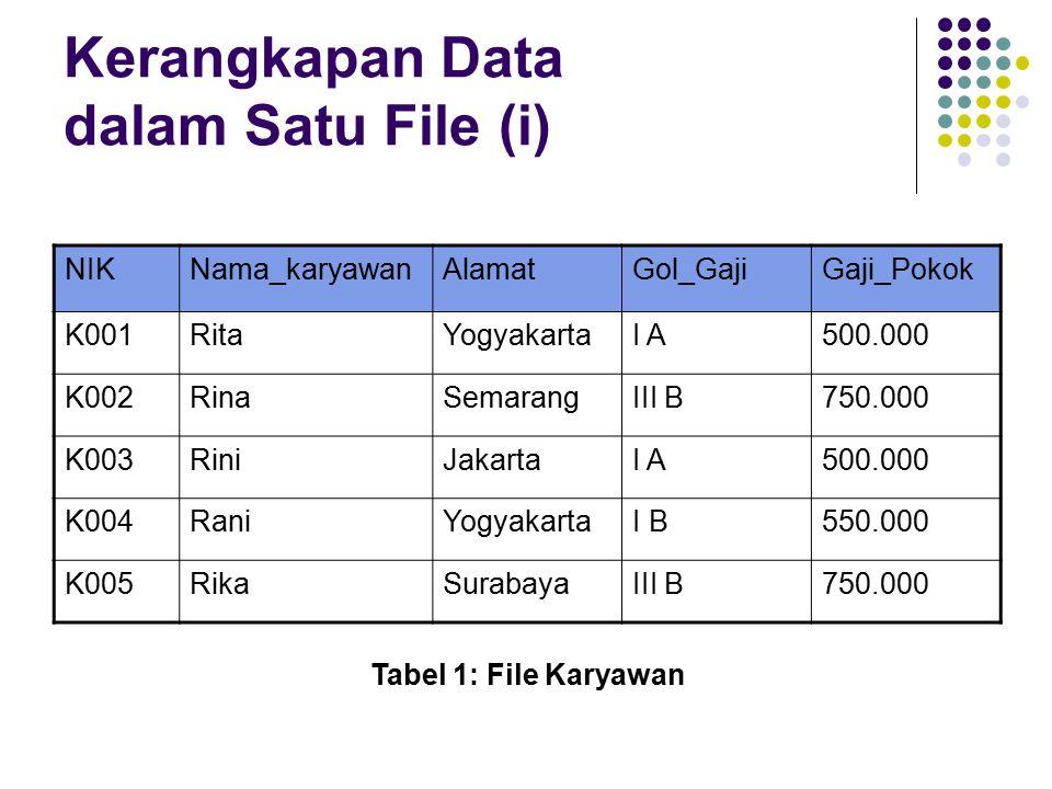 Kerangkapan Data dalam Satu File (i)