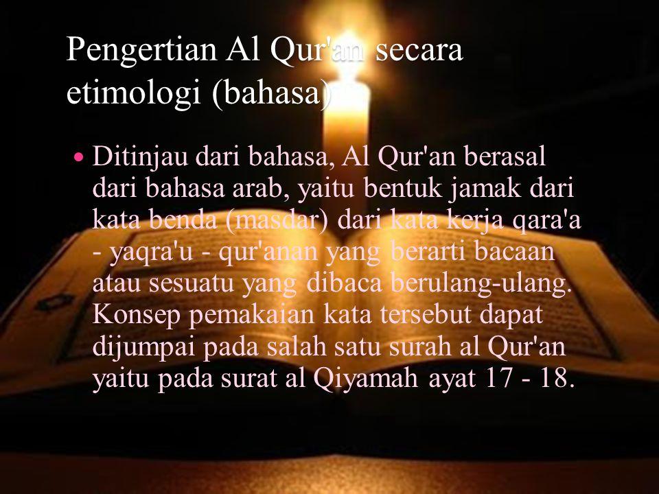 Pengertian Al Qur an secara etimologi (bahasa)