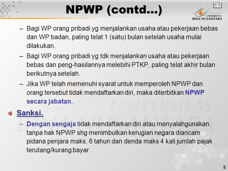 NPWP (contd…)