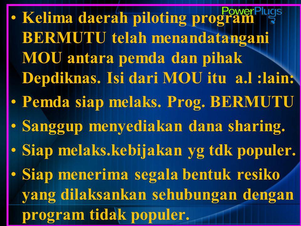 Kelima daerah piloting program BERMUTU telah menandatangani MOU antara pemda dan pihak Depdiknas. Isi dari MOU itu a.l :lain: