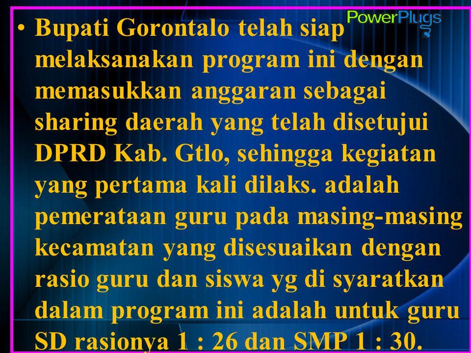 Bupati Gorontalo telah siap melaksanakan program ini dengan memasukkan anggaran sebagai sharing daerah yang telah disetujui DPRD Kab.