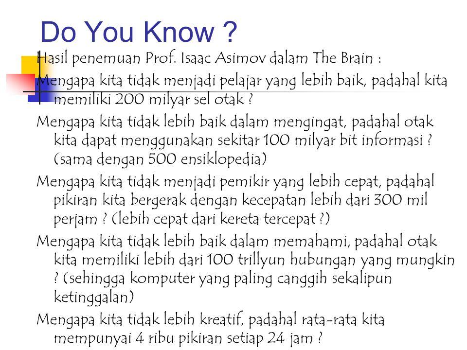 Do You Know Hasil penemuan Prof. Isaac Asimov dalam The Brain :