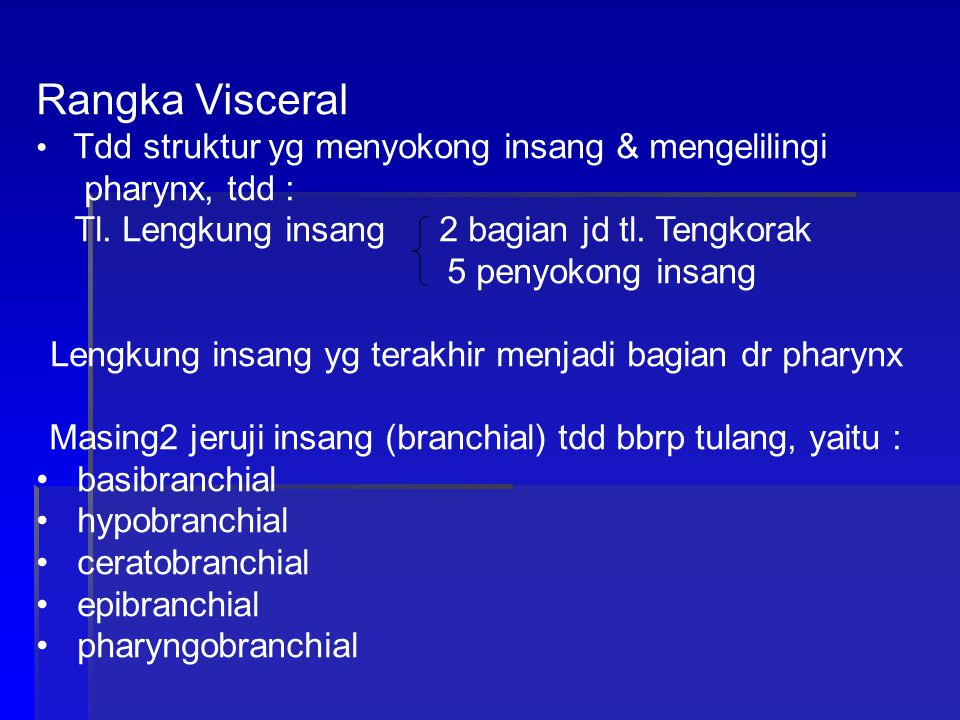Rangka Visceral pharynx, tdd :