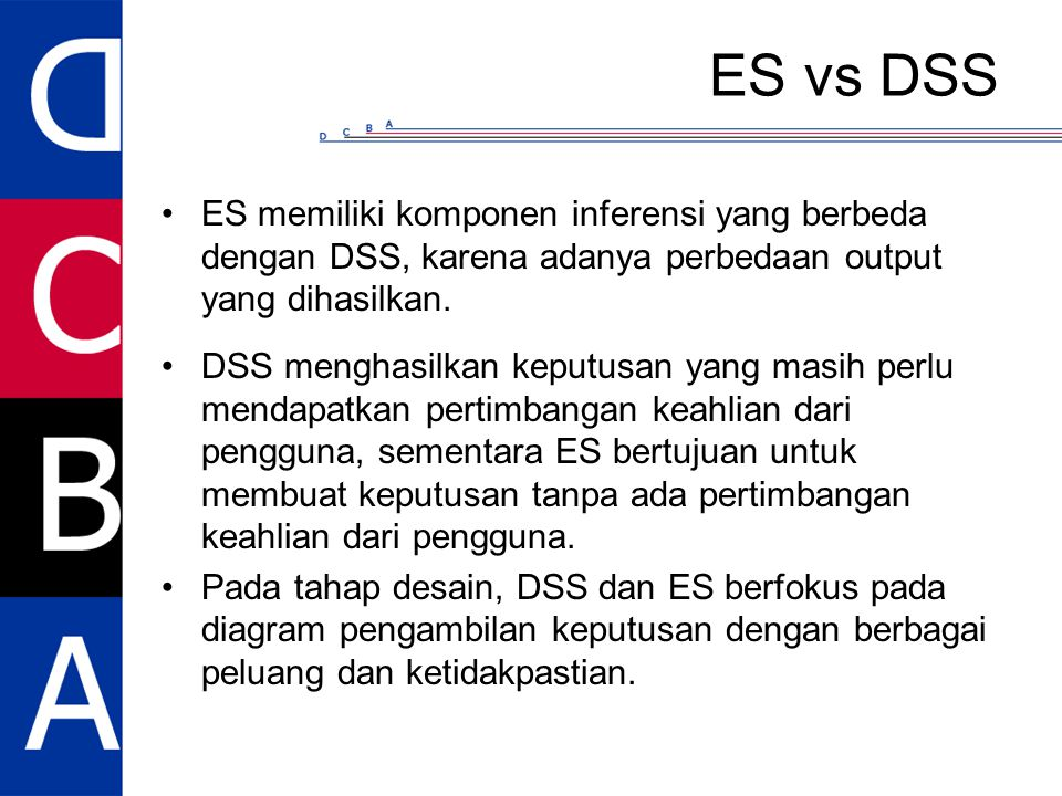 ES vs DSS ES memiliki komponen inferensi yang berbeda dengan DSS, karena adanya perbedaan output yang dihasilkan.