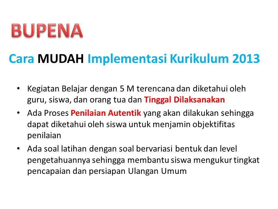 BUPENA Cara MUDAH Implementasi Kurikulum 2013