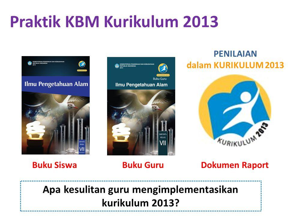 Praktik KBM Kurikulum 2013 PENILAIAN dalam KURIKULUM 2013. Buku Siswa. Buku Guru. Dokumen Raport.