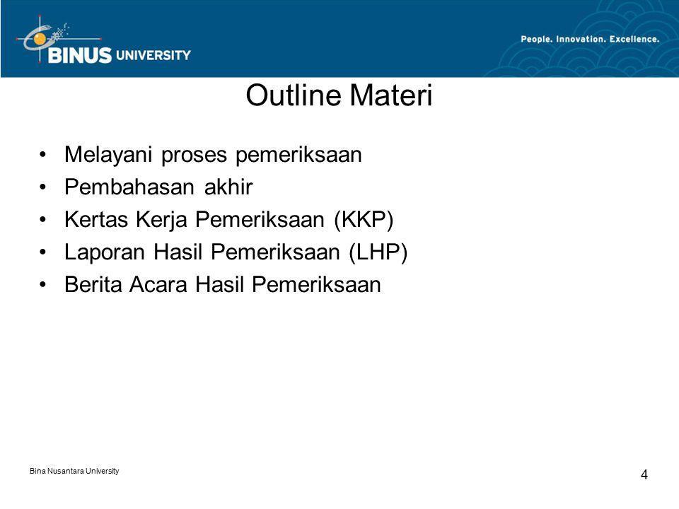 Outline Materi Melayani proses pemeriksaan Pembahasan akhir