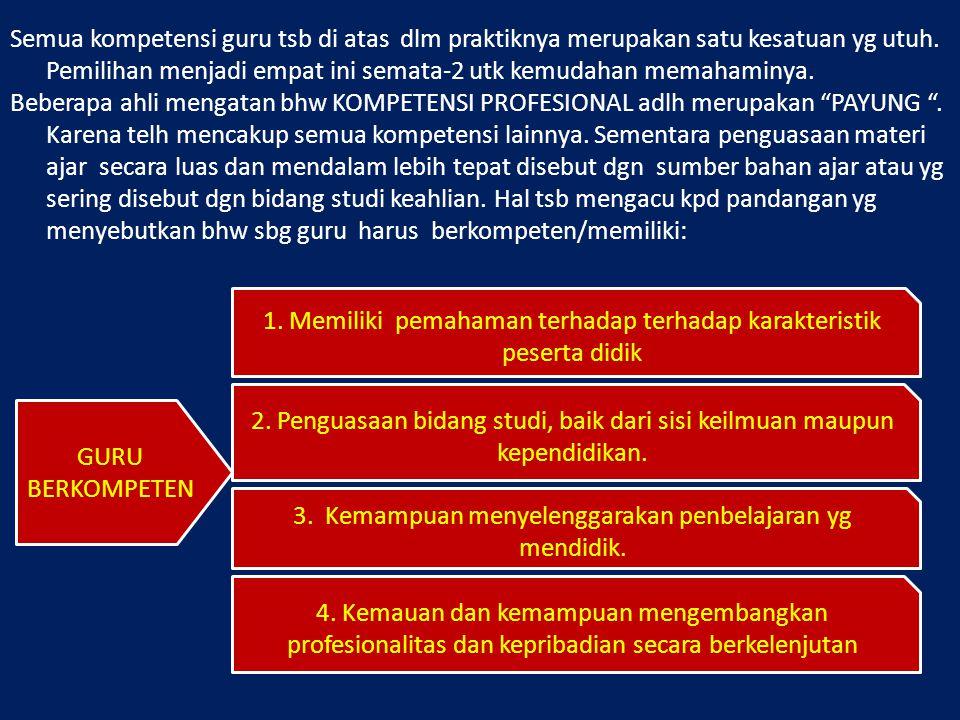 1. Memiliki pemahaman terhadap terhadap karakteristik peserta didik