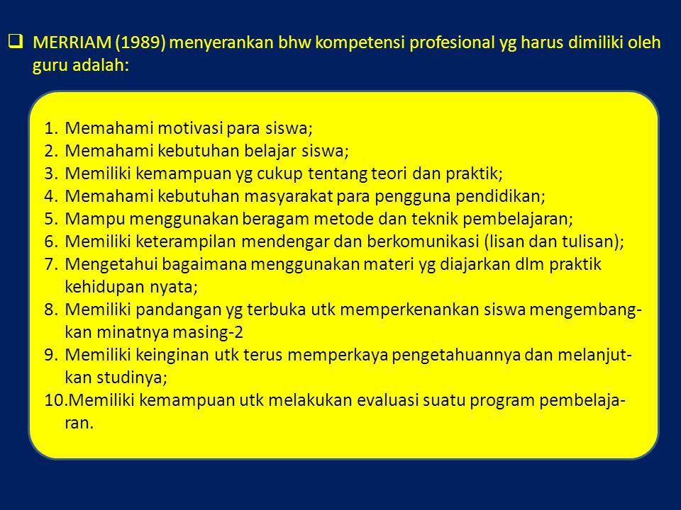 MERRIAM (1989) menyerankan bhw kompetensi profesional yg harus dimiliki oleh guru adalah: