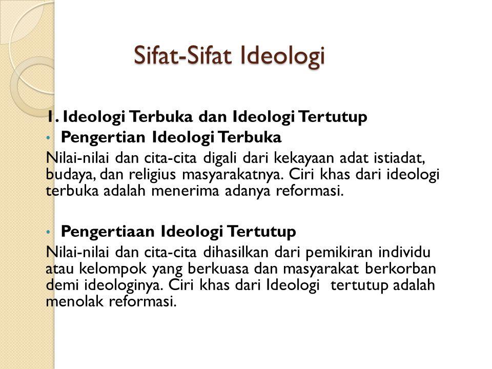 Sifat-Sifat Ideologi 1. Ideologi Terbuka dan Ideologi Tertutup