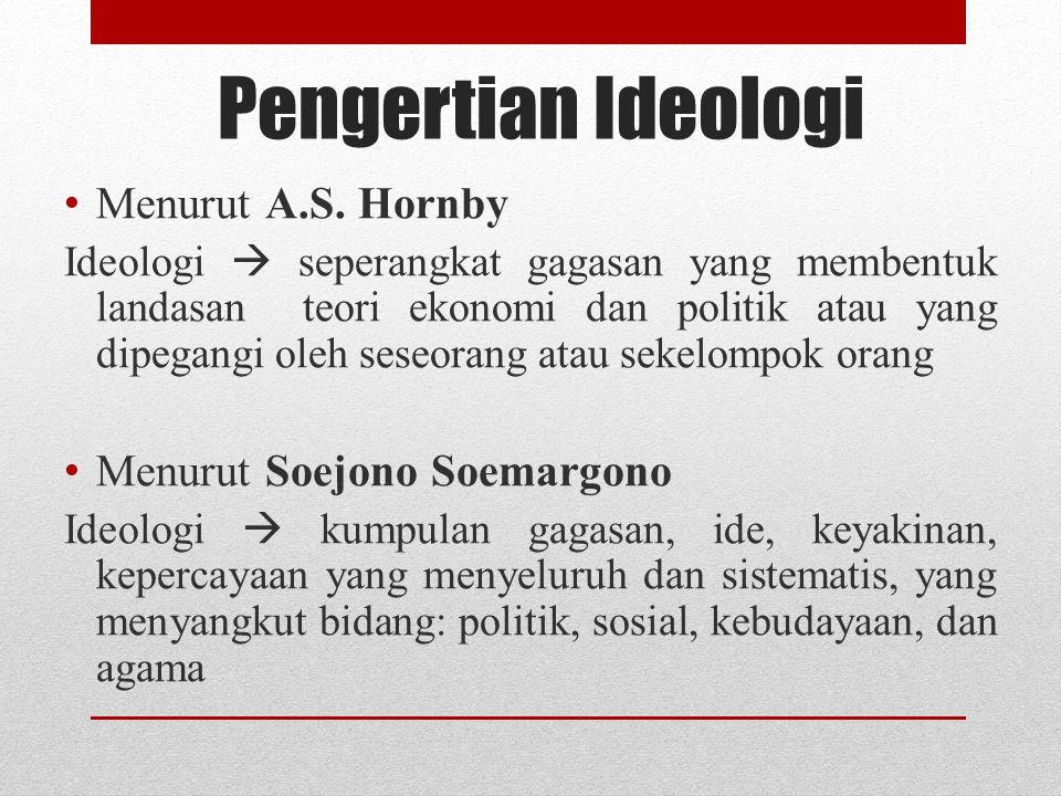 Pengertian Ideologi Menurut A.S. Hornby Menurut Soejono Soemargono