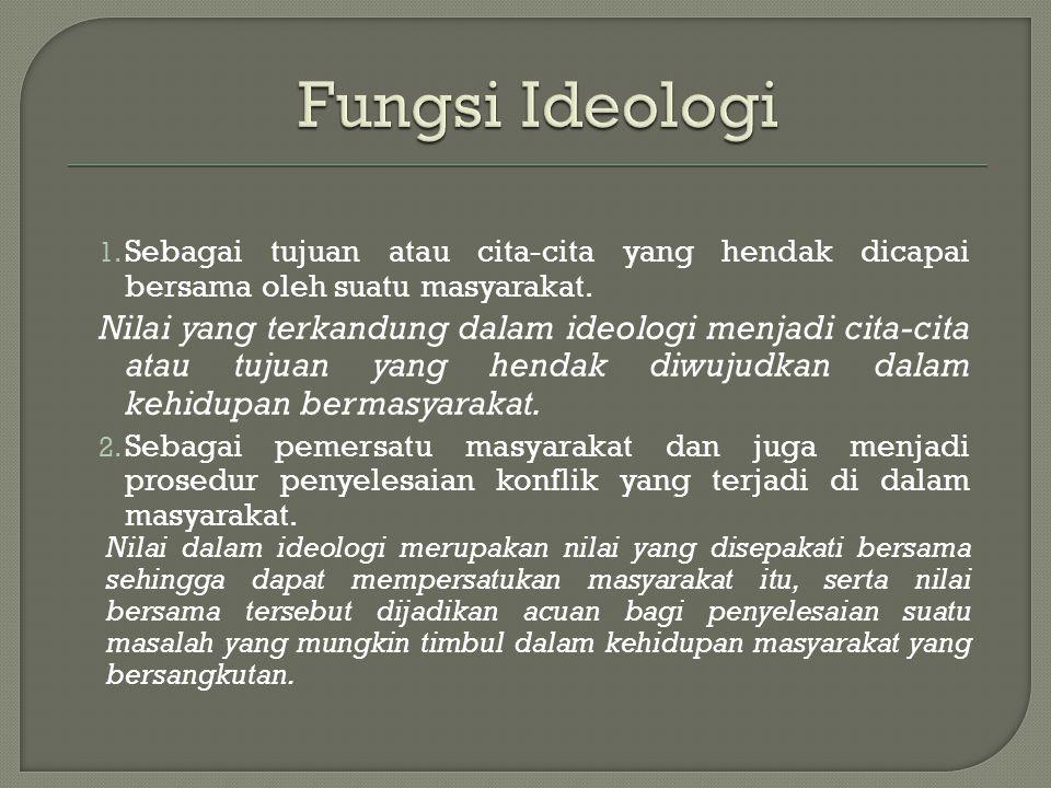 Fungsi Ideologi Sebagai tujuan atau cita-cita yang hendak dicapai bersama oleh suatu masyarakat.