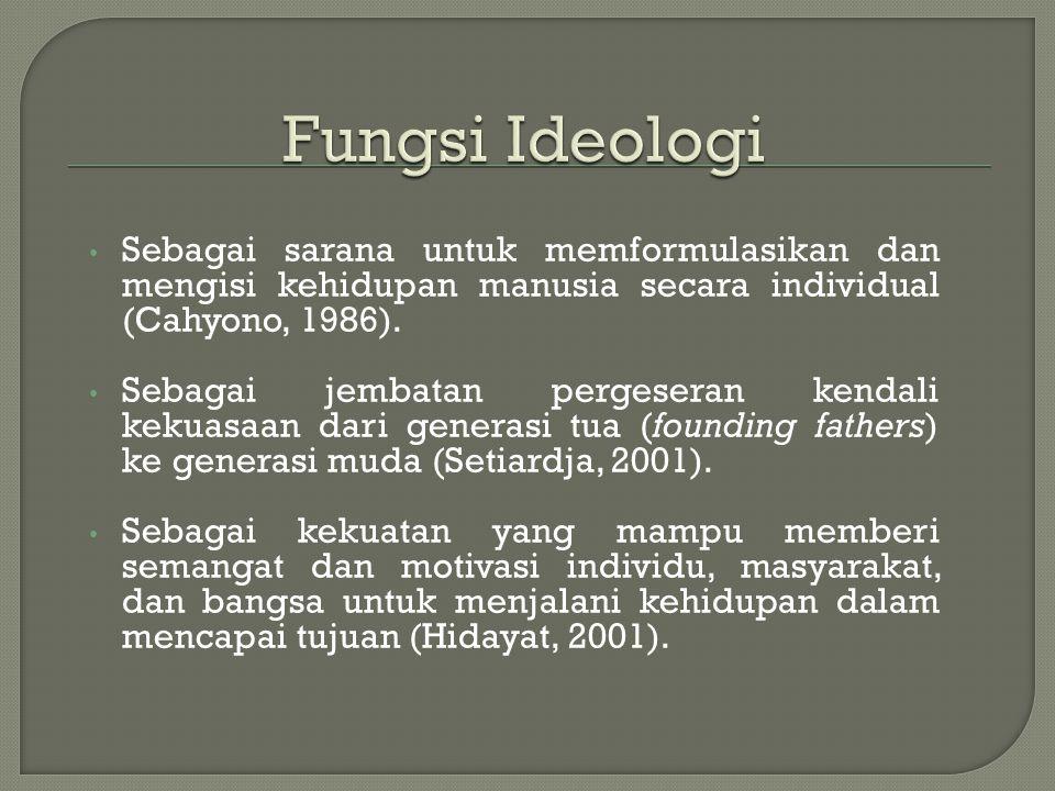 Fungsi Ideologi Sebagai sarana untuk memformulasikan dan mengisi kehidupan manusia secara individual (Cahyono, 1986).