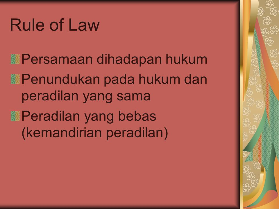Rule of Law Persamaan dihadapan hukum