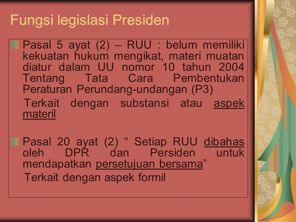 Fungsi legislasi Presiden