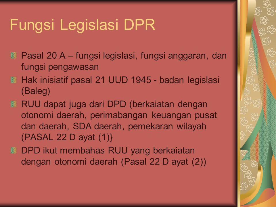 Fungsi Legislasi DPR Pasal 20 A – fungsi legislasi, fungsi anggaran, dan fungsi pengawasan.