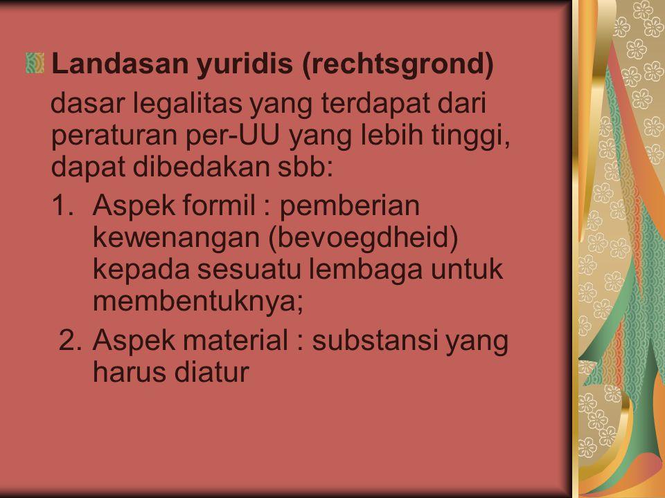 Landasan yuridis (rechtsgrond)