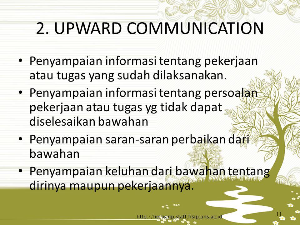 2. UPWARD COMMUNICATION Penyampaian informasi tentang pekerjaan atau tugas yang sudah dilaksanakan.