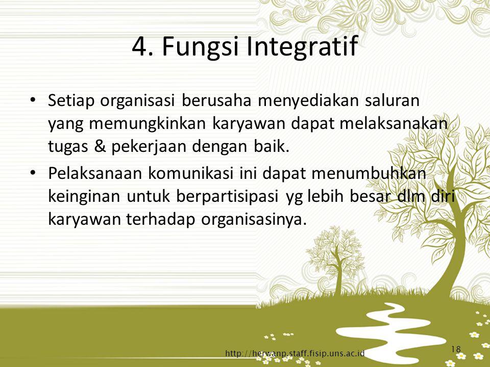 4. Fungsi Integratif Setiap organisasi berusaha menyediakan saluran yang memungkinkan karyawan dapat melaksanakan tugas & pekerjaan dengan baik.