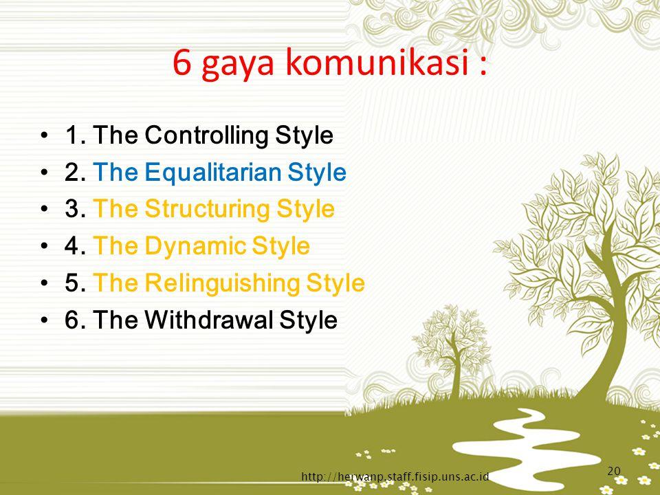 6 gaya komunikasi : 1. The Controlling Style 2. The Equalitarian Style