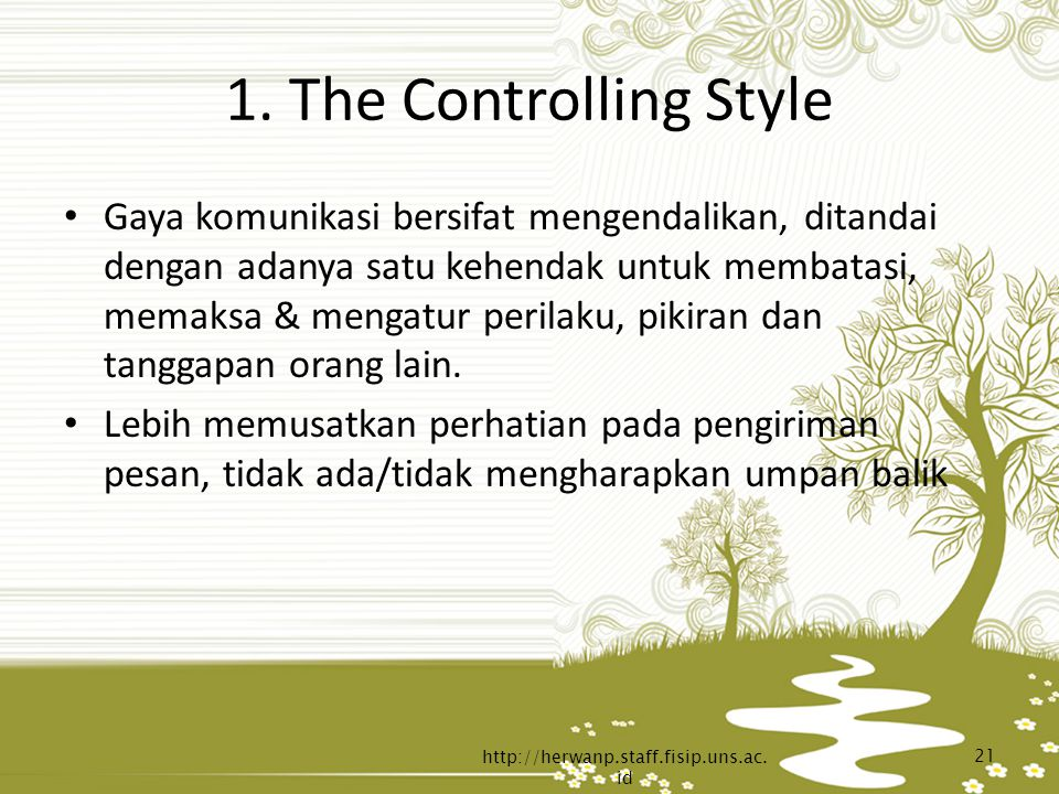 1. The Controlling Style