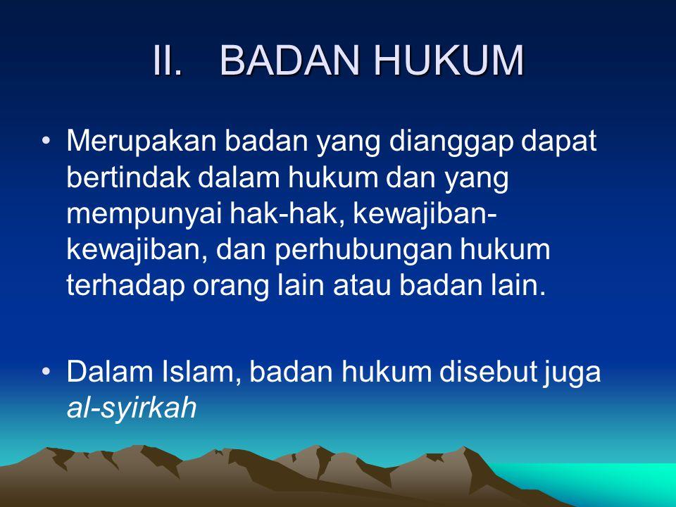 II. BADAN HUKUM