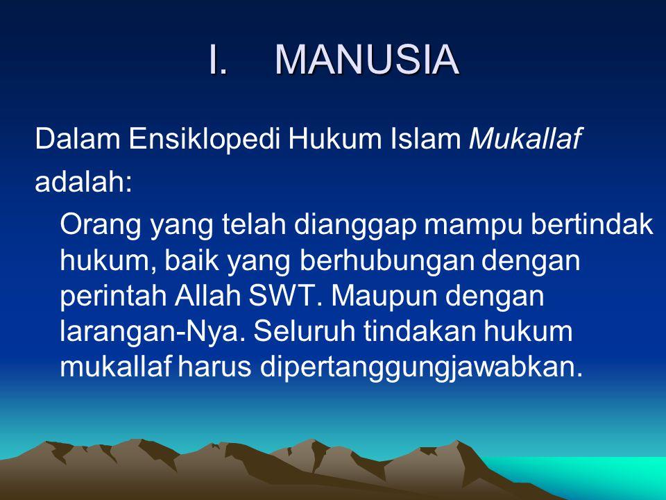 I. MANUSIA Dalam Ensiklopedi Hukum Islam Mukallaf adalah: