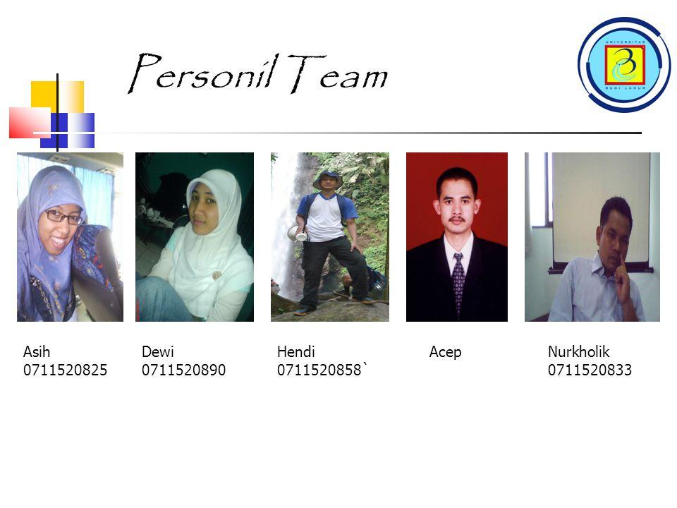 Personil Team Asih 0711520825 Dewi 0711520890 Hendi 0711520858 Acep