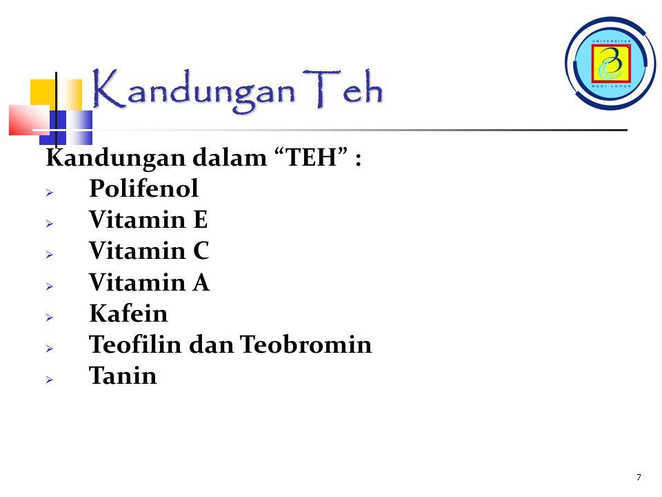 Kandungan Teh Kandungan dalam TEH : Polifenol Vitamin E Vitamin C