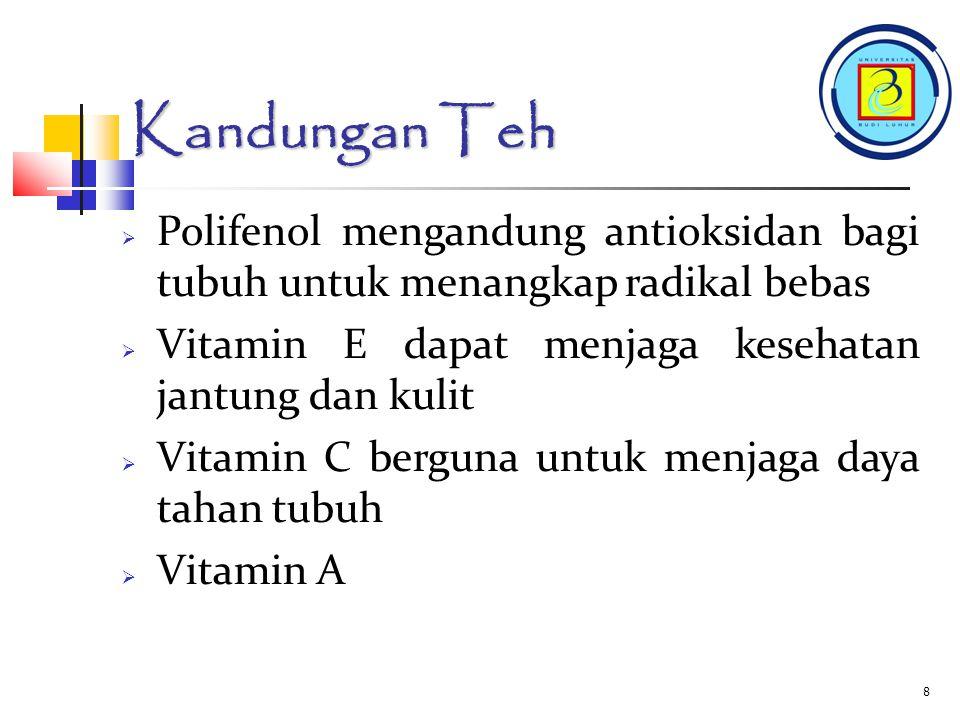Kandungan Teh Polifenol mengandung antioksidan bagi tubuh untuk menangkap radikal bebas. Vitamin E dapat menjaga kesehatan jantung dan kulit.