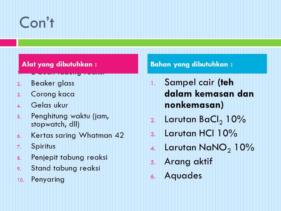 Con't Sampel cair (teh dalam kemasan dan nonkemasan) Larutan BaCl2 10%