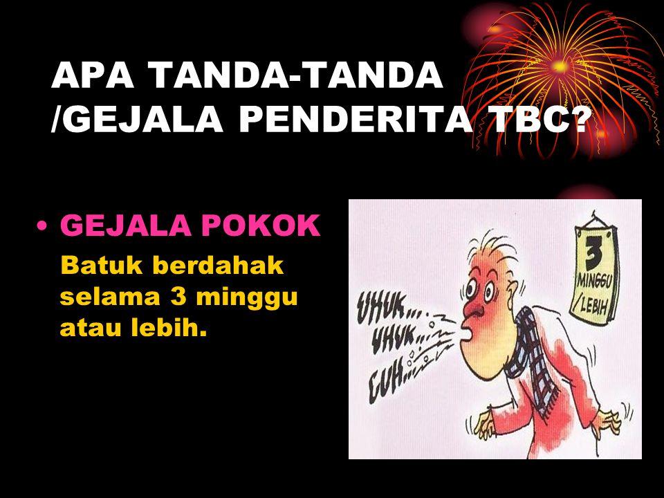 APA TANDA-TANDA /GEJALA PENDERITA TBC