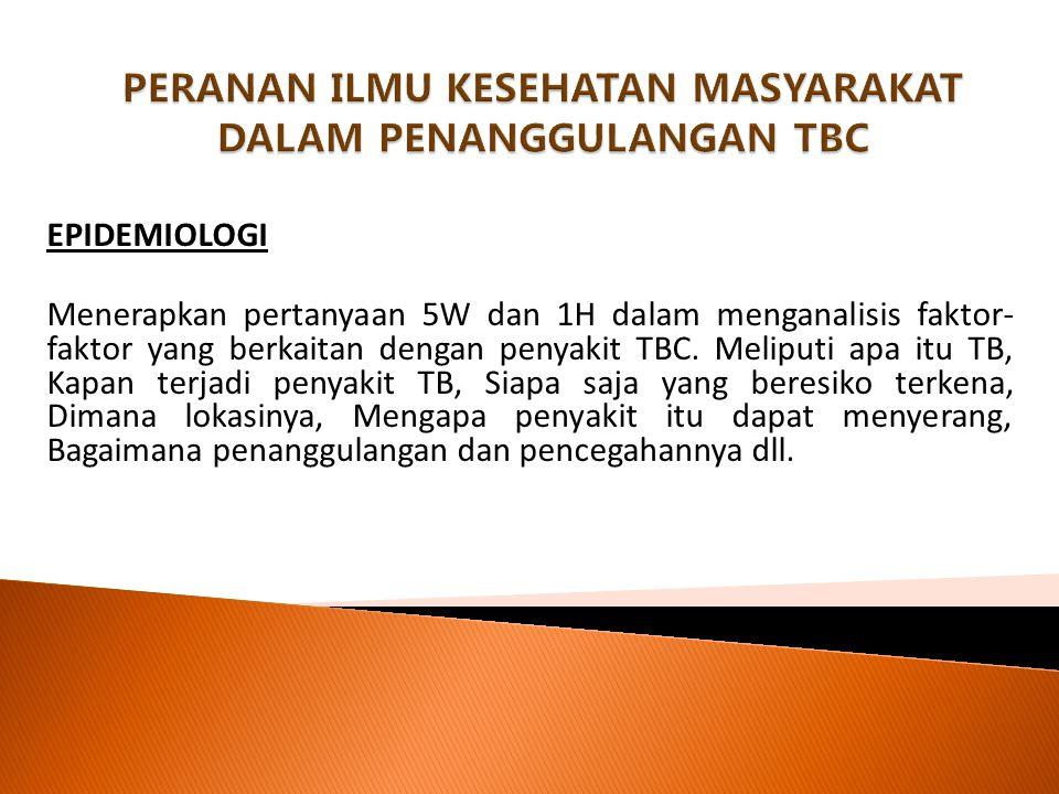 PERANAN ILMU KESEHATAN MASYARAKAT DALAM PENANGGULANGAN TBC