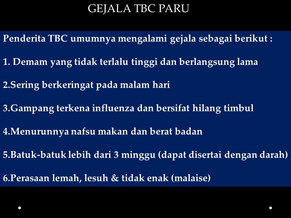 GEJALA TBC PARU Penderita TBC umumnya mengalami gejala sebagai berikut : 1. Demam yang tidak terlalu tinggi dan berlangsung lama.