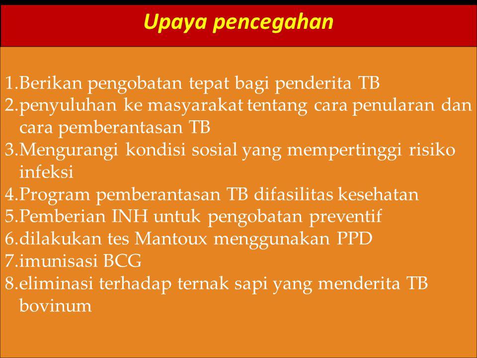 Upaya pencegahan Berikan pengobatan tepat bagi penderita TB