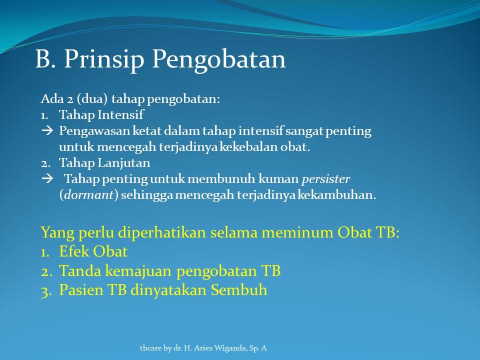 B. Prinsip Pengobatan Yang perlu diperhatikan selama meminum Obat TB: