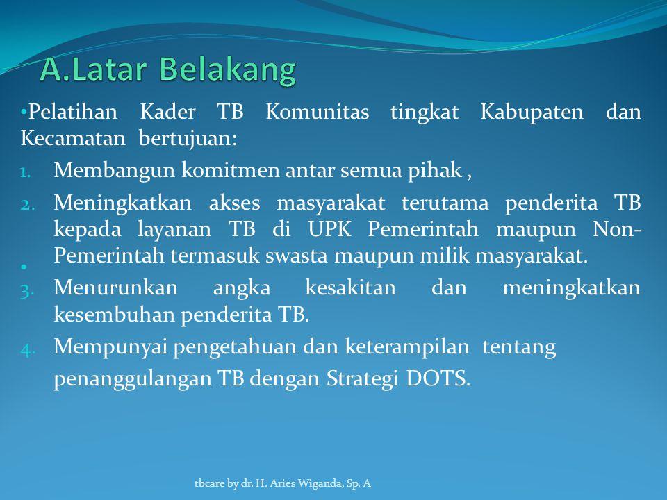A.Latar Belakang Pelatihan Kader TB Komunitas tingkat Kabupaten dan Kecamatan bertujuan: Membangun komitmen antar semua pihak ,