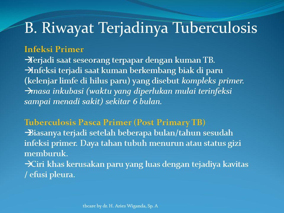 B. Riwayat Terjadinya Tuberculosis