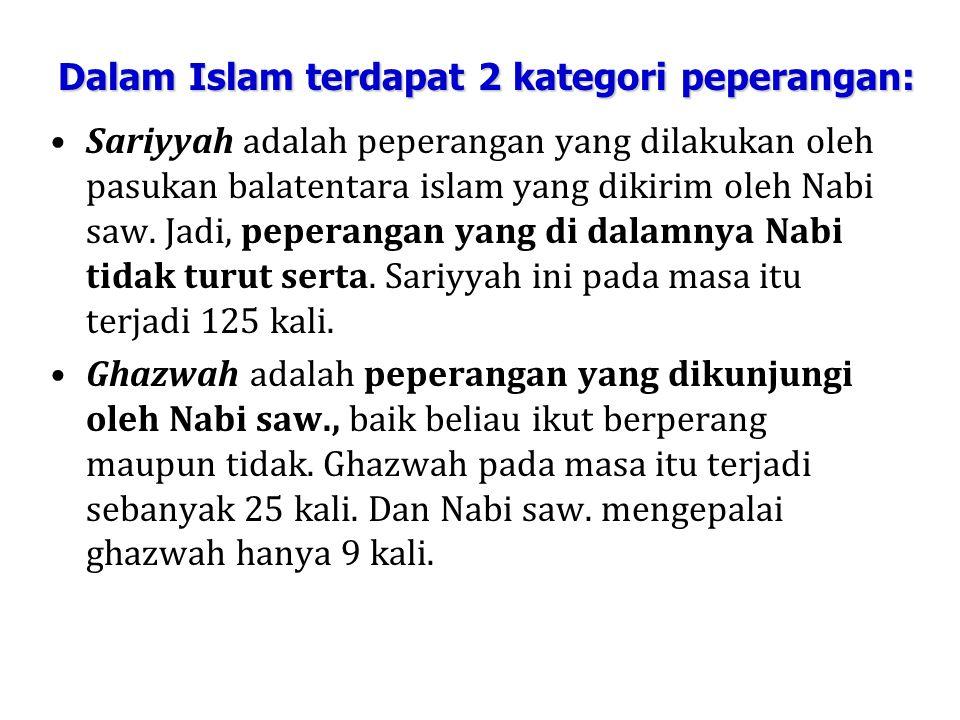 Dalam Islam terdapat 2 kategori peperangan: