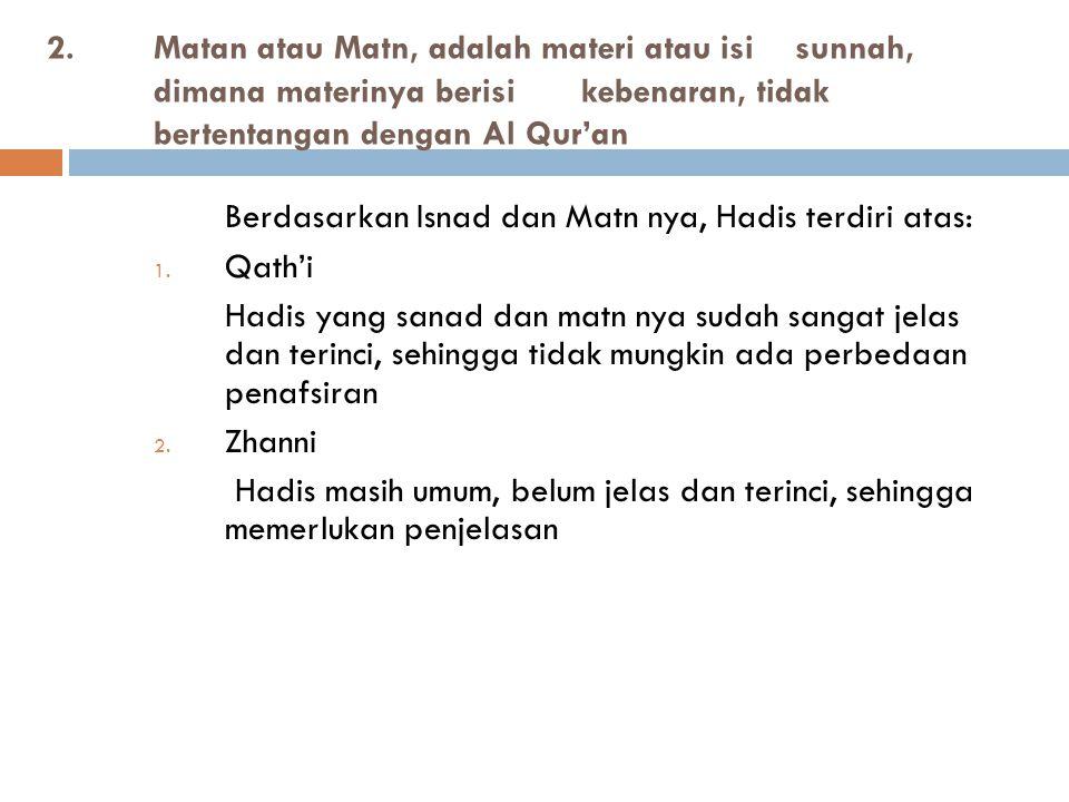 Berdasarkan Isnad dan Matn nya, Hadis terdiri atas:
