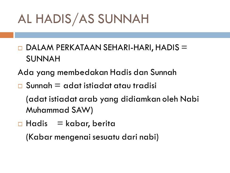 AL HADIS/AS SUNNAH DALAM PERKATAAN SEHARI-HARI, HADIS = SUNNAH