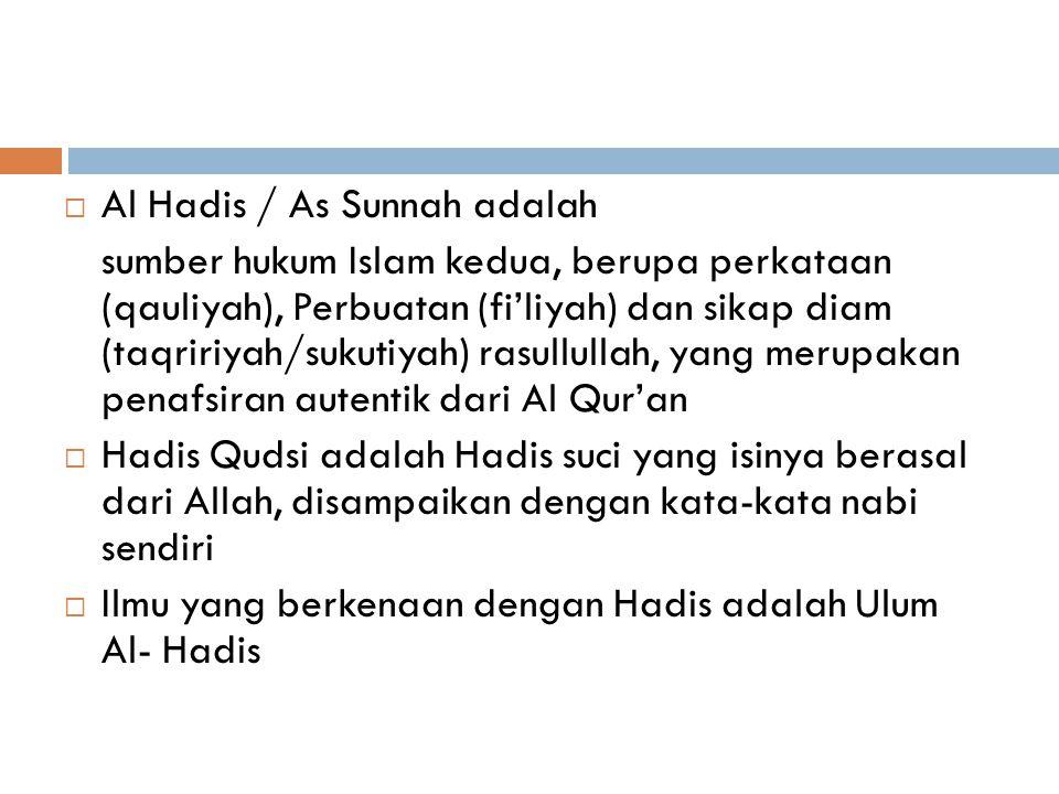 Al Hadis / As Sunnah adalah