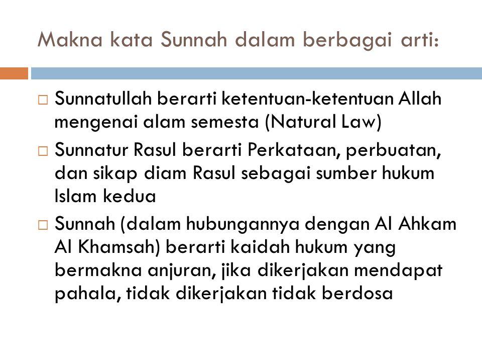 Makna kata Sunnah dalam berbagai arti: