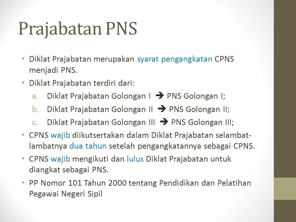 Prajabatan PNS Diklat Prajabatan merupakan syarat pengangkatan CPNS menjadi PNS. Diklat Prajabatan terdiri dari:
