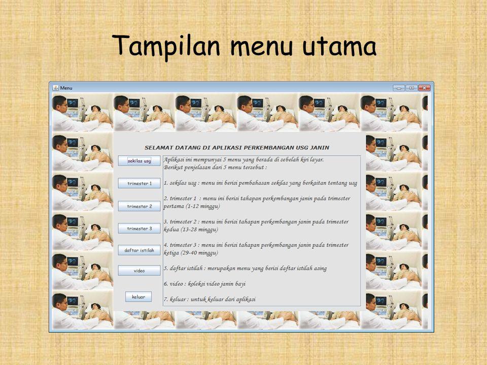 Tampilan menu utama
